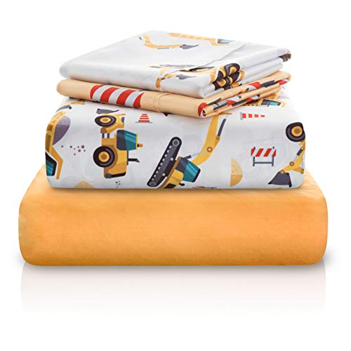 Price comparison product image Chital 4Pc Twin Linen Sheet Set - Cute Construction Tractor Print - Flat & Fitted Sheets 2 Pillowcases Kids Boy Girl & Teen - Super Soft Microfiber - Fits Bed Size: 39x75x15 Inches Deep
