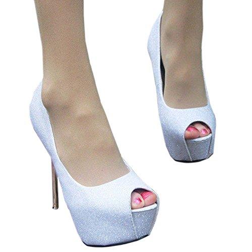 white Wedding High Shoes Sexy toe 37 Heel Super Thin Peep xR8YnHwUqv