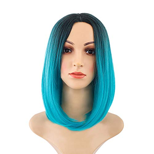 (iTLOTL Black Pink Ombre Hair Straight Bob Wigs Synthetic Hair Short Party Hair)
