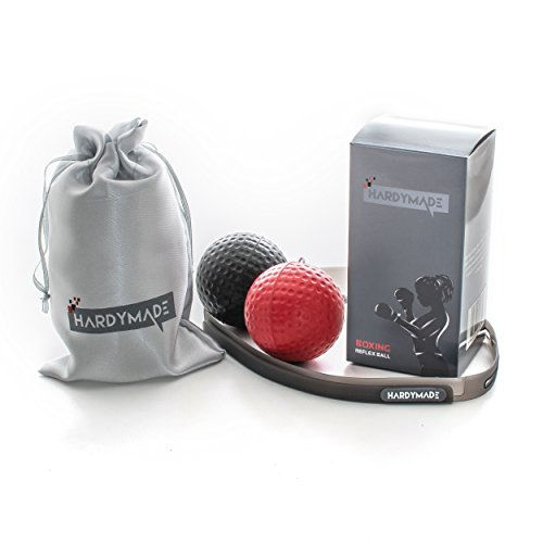 HardyMade Boxing Reflex Ball Headband | Boxing Workout Equipment for Training Punching Reflexes Hand Eye Coordination & Accuracy, 2 Level Exercise Ball, Softer Than Tennis Ball