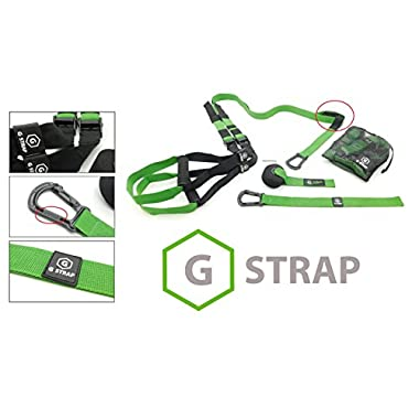 GREEN G-STRAPS Suspension Body Fitness Trainer (650 LB SUPPORT, 5 COLORS) HIGH QUALITY Guaranteed, Resistance Home Gym Fitness Training, WARRANTY