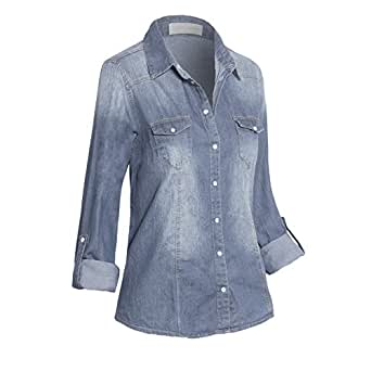 Women's Classic Button Down Roll Up Long Sleeve Cotton Denim Shirt with Pockets