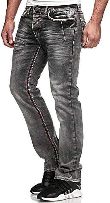 iProfash Straight Cut Regular Grube szwy. Dżinsy spodnie grube szwy: Odzież