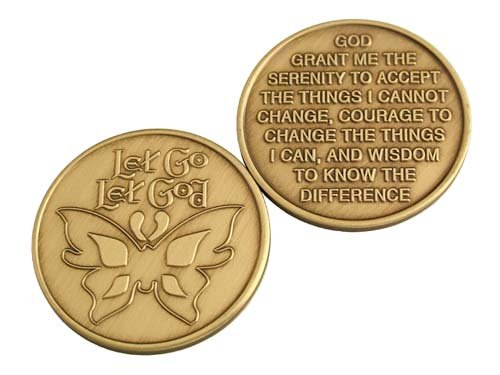 Wendells Bulk Lot of 25 Let Go Let God Butterfly Medallions Serenity Prayer Chips -