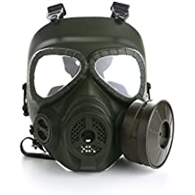 VILONG Airsoft Full Mask with Dual Filter Fans,Skull Face Guard for Dust CS Edition Outdoor Sport Tactical Paintball