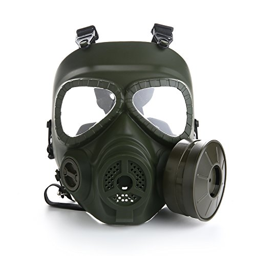 VILONG Airsoft Paintbal Dummy Gas Mask Fan for Cosplay Protection Zombie Soldiers Halloween Masquerade Resident Evil Antivirus Skull (green) -