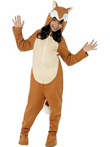 Smiffy's Children's Unisex All In One Fox Costume, Jumpsuit with Tail and Ears, Party Animals, Ages 4-6, Size: Small, Color: Brown,