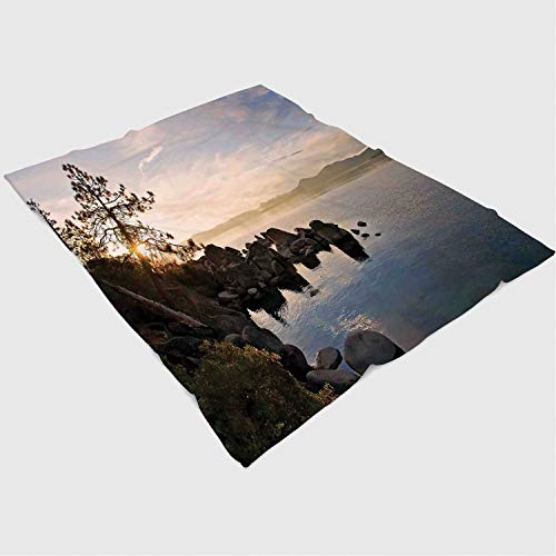 Blanket Custom Design Cozy Fleece Blanket Perfect for Couch Sofa or Bed/49x59 inches/Lake,Lake Tahoe at Sunset with Clear Sky and Single Pine Tree Rest Peaceful Weekend Photo,Blue ()