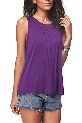 iGENJUN Women's Summer Sleeveless Pleated Back Closure Casual Tank Tops,Purple,XL ()