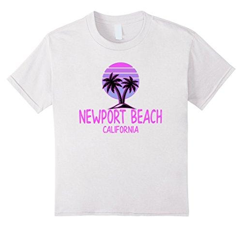 Beach Kids T-shirt (Kids Newport Beach Vintage Retro T-Shirt 70s Throwback 4 White)