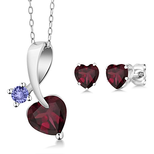 Gem Stone King 2.72 Ct Heart Shape Red Rhodolite Garnet 925 Sterling Silver Pendant Earrings Set