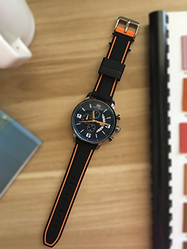 EACHE Silicone Watch Strap Rubber Replacement Diver Sport Waterproof Watch Band Black Orange Silver Buckle 20mm by EACHE (Image #7)