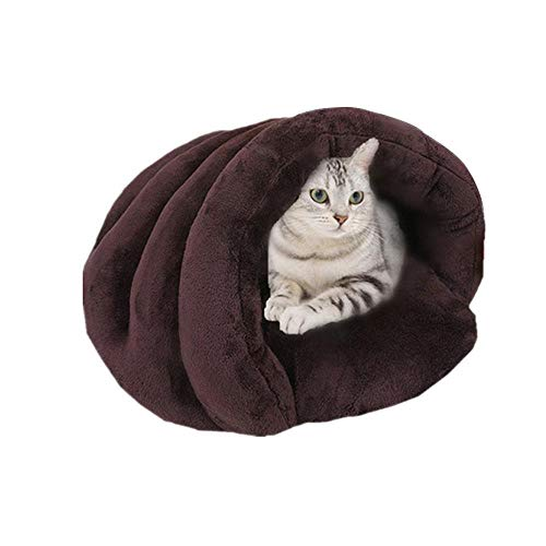 Amazon.com : Leegoal Cat Sleeping Bag, Shell Shape Cat Bed Mat Pet Bed for Cats and Small Dogs, Comfortable, Soft and Warm, Easy to Clean, Cotton Igloo ...
