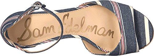 Sam Edelman de la mujer Susie Heeled Sandal Blue Multi Americana Stripe Multi Fabric