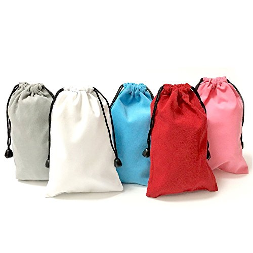 "HAWORTHS Pack Of 25 Mixed colors Large 7"" X 5"" Pouch bags - Elegant Velvet Drawstring Bags Jewelry Pouches for Jewelry, Gifts, Event Supplies (White Red Gray Pink Blue)"