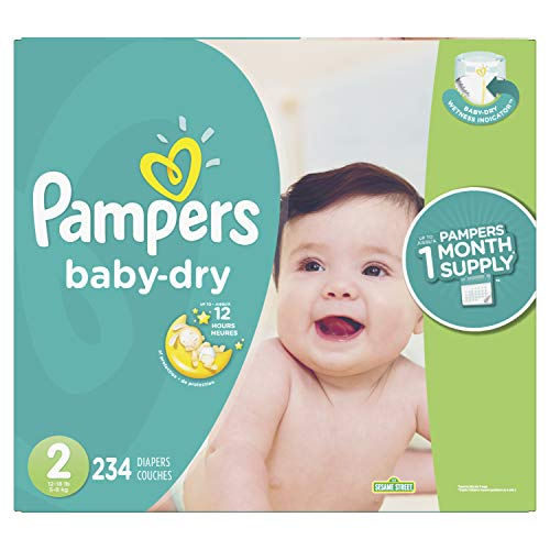 Diapers Size 2, 234 Count – Pampers Baby Dry Disposable Baby Diapers, ONE MONTH SUPPLY (Packaging May Vary)