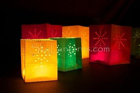 Lotto da 12 lanterne fotofore di carta dimensioni piccole Sky Lanterns