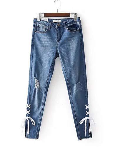 Slim Unie Blue Femme Couleur Pantalon Taille pour YFLTZ Haute Jeans 7c5xvwBx8q