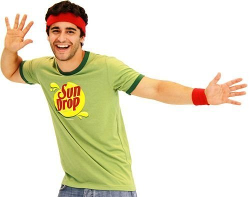 [Sun Drop Citrus Soda Green Costume Mens T-shirt (Adult Large)] (Tv Commercial Costumes Halloween)
