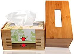 Pandpal One Size Fits All Tissue Box Cover For Kleenex, Preference, Envision, Angelsoft And More, Fit Rectangular Paper Boxes, Office Kitchen Bath Living, Adjustable Bamboo Wooden Holder Dispenser
