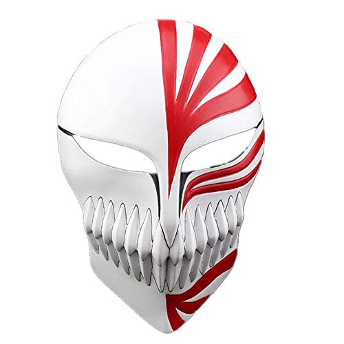 K & E ke Halloween Masquerade Anime Death Bleach Resin Mask Kurosaki Cosplay Mask Decoration Gift (red) (Bleach Ichigo Full Hollow Mask)
