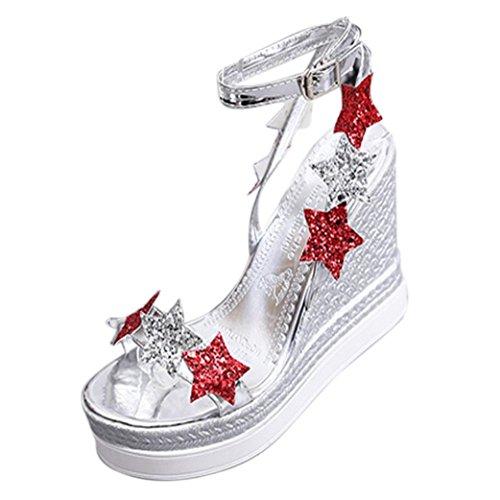 Women Sandals  Certainer Ladies Summer Fish Mouth Platform High Heels Wedge Sandals Five Star Slope Shoes  Silver  Us 7