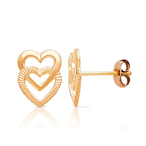 Adorable 14K Yellow Gold Double Open Heart Textured Shiny Push Back Earrings for Girls and ()