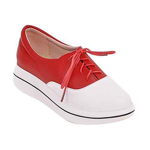 Carolbar Womens Assortiment De Couleurs Lace Up Talon Talon Casual Oxfords Chaussures Rouge