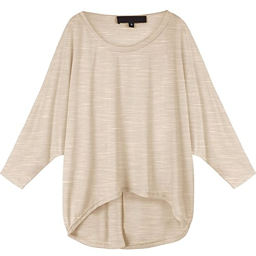 WanYang Mujeres Blusa Suelta de Talla Grande Camiseta con Mangas Largas de Murciélago De Color Sólido Caqui