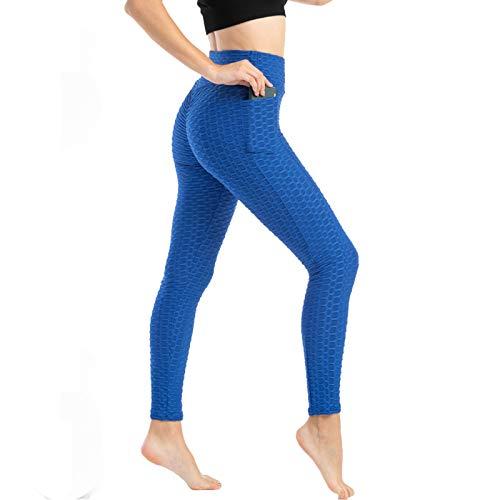 Todiri Pantalón Deportivo de Mujer Cintura Alta Leggings Mallas, Pantalones de Levantamiento Cadera Elásticos Altos y Pantalones Deportivos Yoga Pantalones con Bolsillos(A-Azul,M)