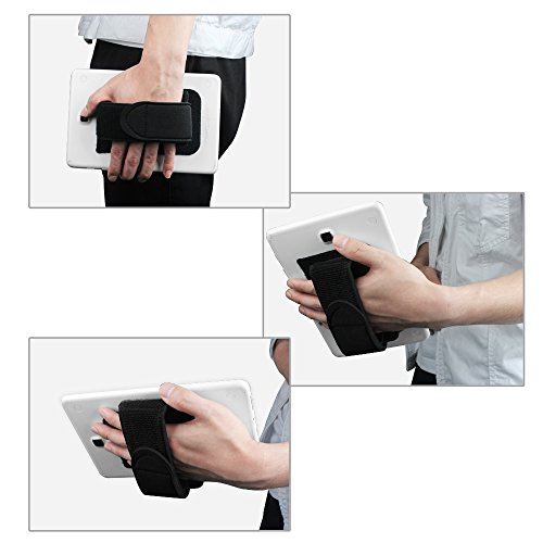 """Fintie Universal Tablet Hand Strap Holder - [Dual Stand Supports] Detachable Padded Hook & Loop Fastening Handle Grip with Adhesive Patch for iPad/Galaxy Tab/Fire and All 7-11"""" Tablets, Black"""