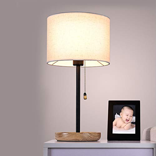 Night Stand lámparas de Mesa-Modernas lámparas de Mesa con Tela de Lino Sombra y Base de Madera lámparas de Noche para…