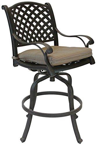 Nassau Cast Aluminum Powder Coated 2 Swivel Barstools with Walnut Seat Cushions - Antique Bronze