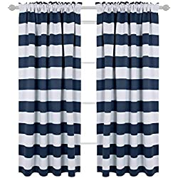 Deconovo Navy Blue Striped Blackout Curtains Rod Pocket Nautical Navy and Greyish White Striped Curtains for Kids Room 42W X 63L Navy Blue 2 Panels