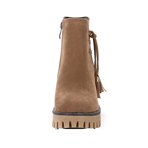 AgeeMi Shoes Women's Block High Heel Work Ankle Boots With Oblique Zipper EuX55 Brown olJr4d