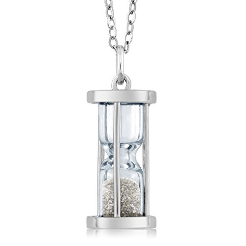 925 Sterling Silver Hourglass Pendant Necklace With 0.50 Ct Diamond Dust & 18 Inch Silver - Hours Silver Sands