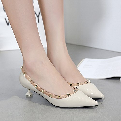 Elegant Pointed Burnished Kitten Toe Rivets Mid Studded Easemax Apricot Heel Womens Shoes Pumps SXqpTwg5