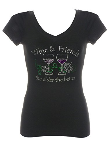 Womens Wine & Friends Rhinestone Bling V-Neck Short Sleeve Shirts Black