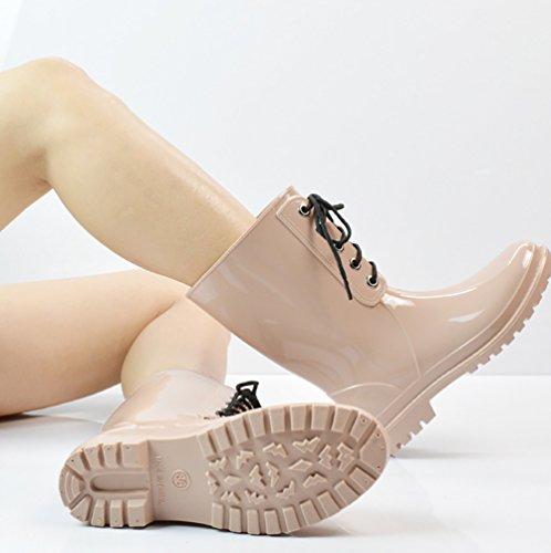 LvRao Botas de Goma de La Mujer Lluvia Nieve Impermeable Booties Tobillo Alto Long Wellington Zapatos de Jardín Beige