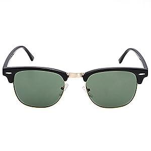 Classic Half Frame Semi-Rimless Horn Rimmed Sunglasses Retro Clubmaster Sunglasses (Sand Black, Green)
