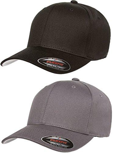 Flexfit 2-Pack Premium Original Cotton Twill Fitted Hat w/THP No Sweat Headliner Bundle (Spandex Fitted Cap)