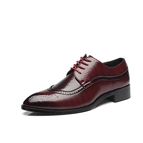 Dress Shoes for Men Oxford Genuine Leather Classic Casual Lace-up Shoe (Red 39/6 D(M))