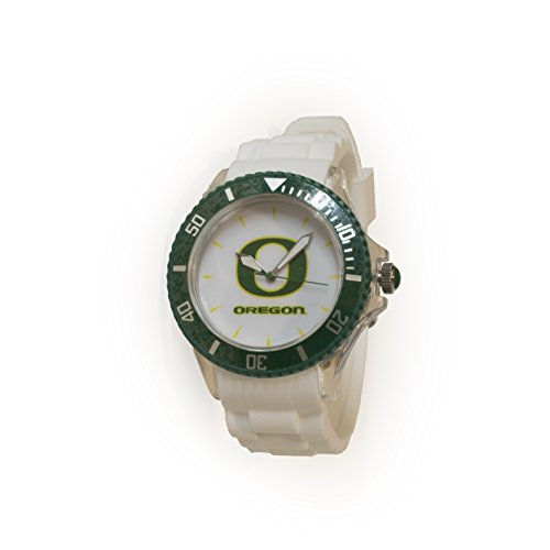 University of Oregon Sporty White Watch. Japanese Quartz, Silicone Adjustable Band. Perfect Gift Item for Oregon Ducks Fans! Show College Sports (College Oregon Ducks Watches)