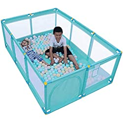 Lzttyee Portable Rectangle Baby Playpen Home Indoor Playground Safety Protective Fence Stable Kids Heavy Duty Playard (Green)