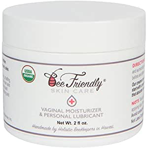 Organic Vaginal Health Moisturizer & Personal Lubricant By BeeFriendly, USDA Certified, Vulva Cream For Dryness, Itching, Irritation, Redness & Chafing Of Vagina Due To Menopause and Thinning 2 oz