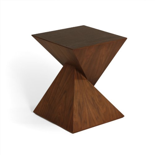 Geometric Walnut Veneer Side Table