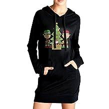 Elva Women Pockets Tunic Top Chriastmas Tree Santa Claus Sweatshirt Dress Black