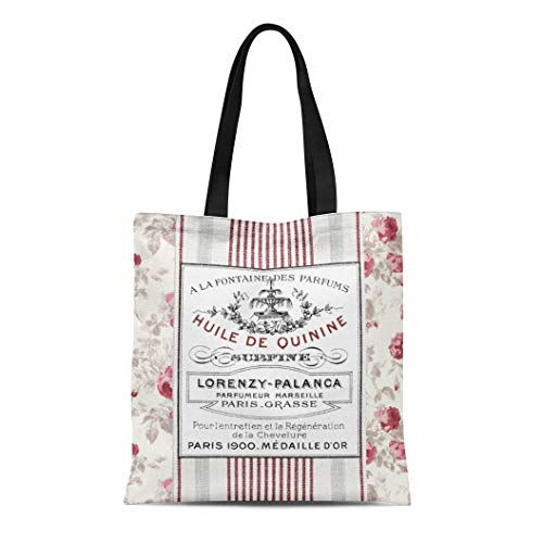 Semtomn Cotton Line Canvas Tote Bag Pink Stripes Vintage French Ticking Red Paris Roses Faded Reusable Handbag Shoulder Grocery Shopping Bags