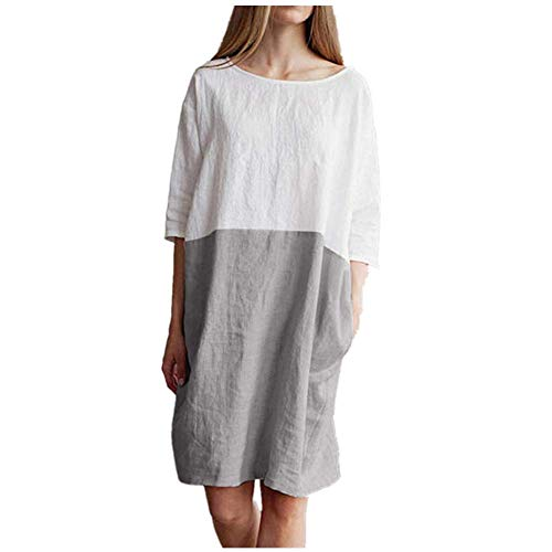 Women's Summer Casual Solid Round Neck Loose Tunic Long Tops Blouse Dress with Pockets (XL, X-Gray) ()