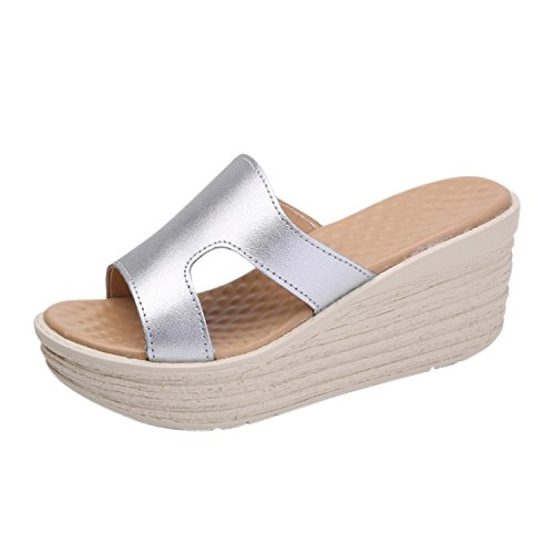 Mode Mules Sliver de Compensée Frestepvie Tongs Vintage Plage Confortable Chaussure Eté Sabots Femme Sandales Vacances fE6qqdwx